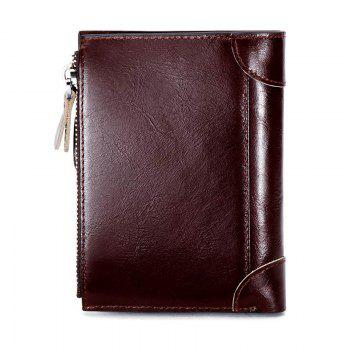 HAUT TON Genuine Leather Trifold Wallets for Men Credit Card Protector - DEEP BROWN 9X1X12 CM
