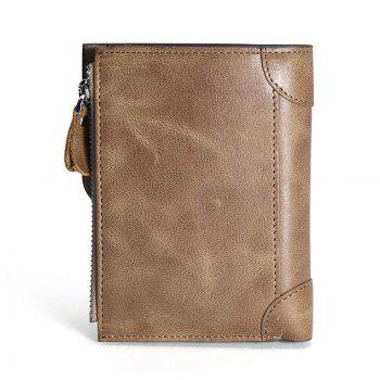 HAUT TON Genuine Leather Trifold Wallets for Men Credit Card Protector - KHAKI 9X1X12 CM