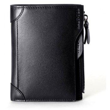 HAUTTON Genuine Leather Trifold Wallets for Men Credit Card Protector - BLACK 9X1X12 CM