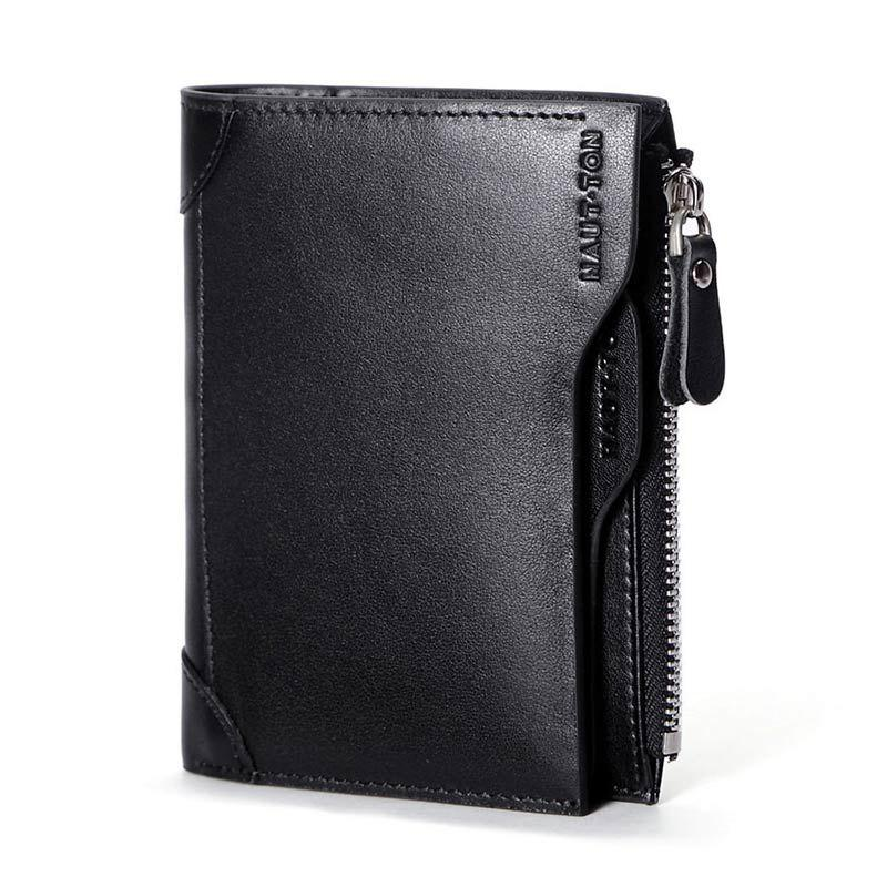 HAUT TON Genuine Leather Trifold Wallets for Men Credit Card Protector - BLACK 9X1X12 CM