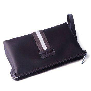 HAUT TON Men Clutch Bag Zipper Wallet Purse Checkbook Document Passpsort Phone Handbag - COFFEE 24X6.5X14.5CM