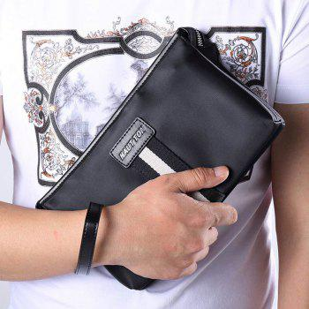 HAUTTON Men Clutch Bag Zipper Wallet Purse Checkbook Document Passpsort Phone Handbag - BLACK 24X6.5X14.5CM