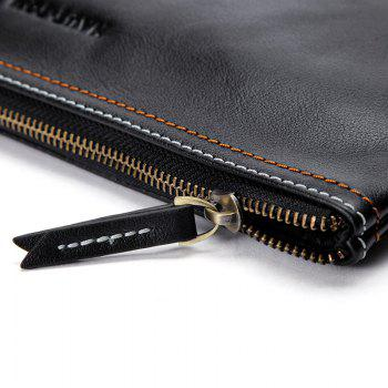 HAUT TON Men Leather Envelope Wallet Wrist HandBag Clutch Zip Business Purse - BLACK BLACK