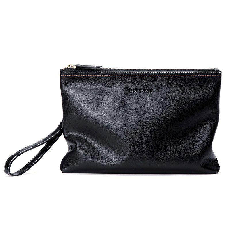 HAUT TON Men Leather Envelope Wallet Wrist HandBag Clutch Zip Business Purse - BLACK