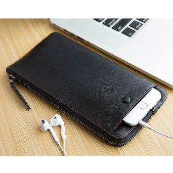 HAUT TON Vintage Natural Top Grain Leather Wallet Zipper Clutch Card Case - BLACK 21.5X1X10.5CM