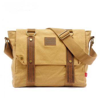 AUGUR Handbag Casual Vintage Multifunction Trunk Men Canvas Travel Crossbody Shoulder Messenger Bag Handbag - KHAKI
