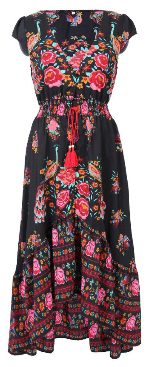 Europe and the United States Stands New Style Women Chiffon  Summer Sexy V Neck Vintage Boho Long Maxi Floral Party Beach  Sundress - RED M