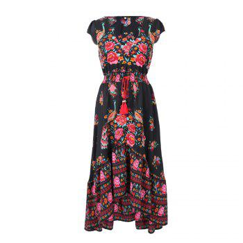 Europe and the United States Stands New Style Women Chiffon  Summer Sexy V Neck Vintage Boho Long Maxi Floral Party Beach  Sundress - RED RED