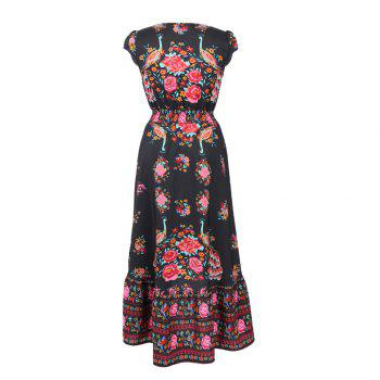 Europe and the United States Stands New Style Women Chiffon  Summer Sexy V Neck Vintage Boho Long Maxi Floral Party Beach  Sundress - RED S
