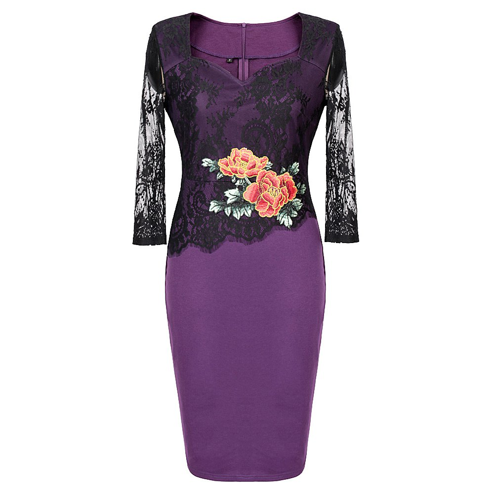 Autumn New Stylish Embroidery Lace Casual  Geometric Sexy Lace  Women 2017 Women Casual Female Bodycon Party Pencil Dress - PURPLE M