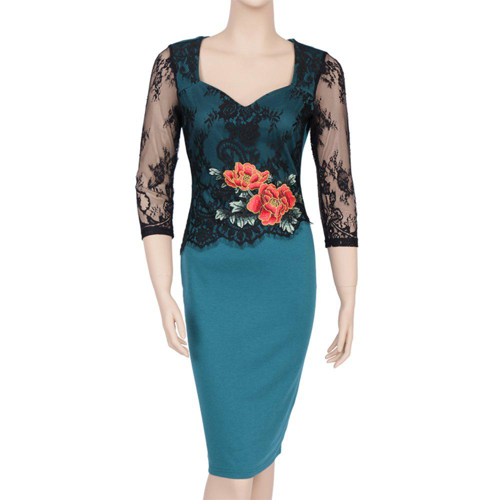 Autumn New Stylish Embroidery Lace Casual  Geometric Sexy Lace  Women 2017 Women Casual Female Bodycon Party Pencil Dress - GREEN L