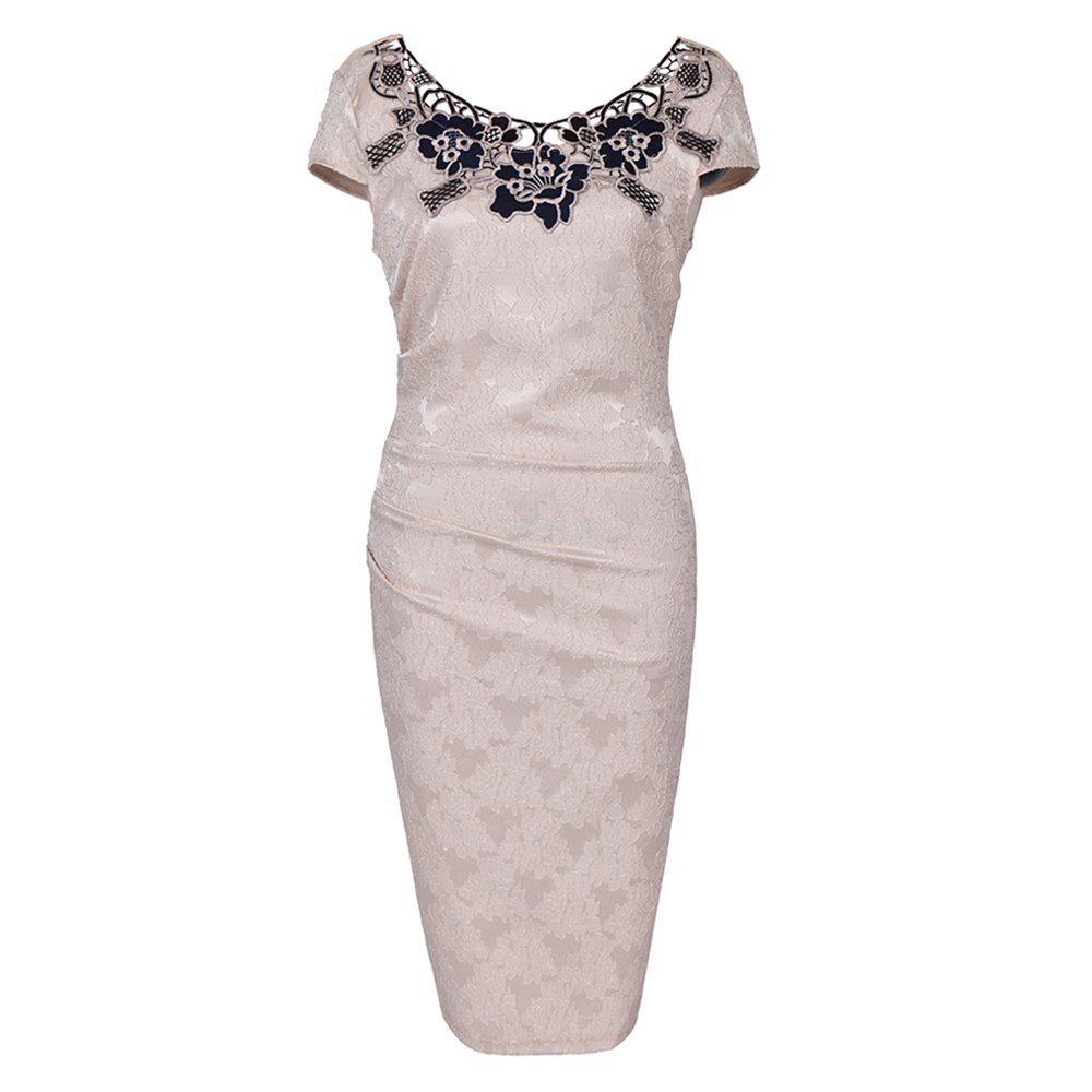 European Foreign Trade Station Hot Sale Short Sleeve Lace O Neck Pencil Party Dress - KHAKI 2XL
