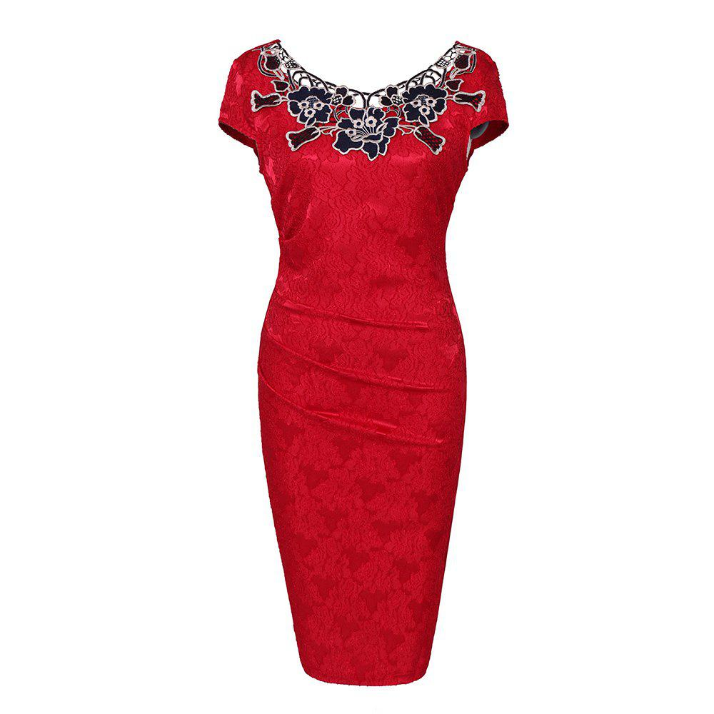 European Foreign Trade Station Hot Sale Short Sleeve Lace O Neck Pencil Party Dress - RED M