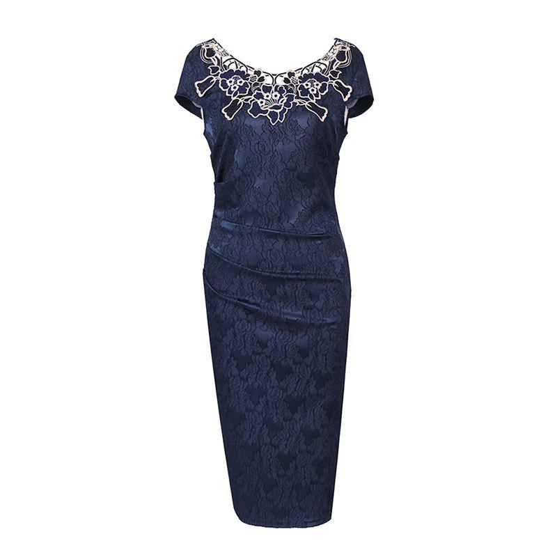 European Foreign Trade Station Hot Sale Short Sleeve Lace O Neck Pencil Party Dress - NAVY BLUE S