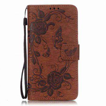 Embossed - Butterfly Flower PU Phone Case for Samsung Galaxy  Grand Prime G530 - BROWN BROWN