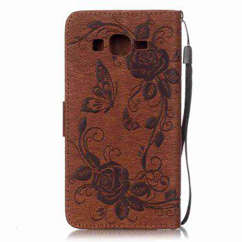 Embossed - Butterfly Flower PU Phone Case for Samsung Galaxy  Grand Prime G530 -  BROWN