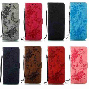Embossed - Butterfly Flower PU Phone Case for Samsung Galaxy  Grand Prime G530 -  BLACK