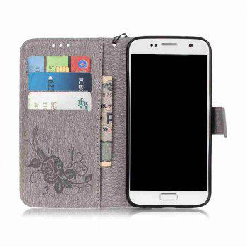 Embossed - Butterfly Flower PU Phone Case for Samsung Galaxy  Grand Prime G530 - GRAY