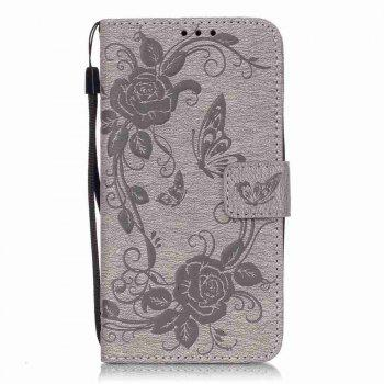Embossed - Butterfly Flower PU Phone Case for Samsung Galaxy  Grand Prime G530 - GRAY GRAY