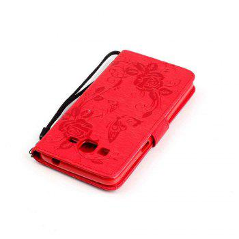 Embossed - Butterfly Flower PU Phone Case for Samsung Galaxy  Grand Prime G530 - RED