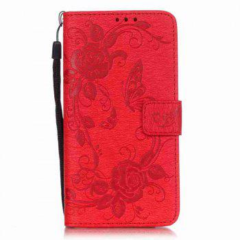 Embossed - Butterfly Flower PU Phone Case for Samsung Galaxy  Grand Prime G530 - RED RED
