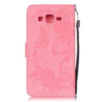 Embossed - Butterfly Flower PU Phone Case for Samsung Galaxy  Grand Prime G530 -  PINK