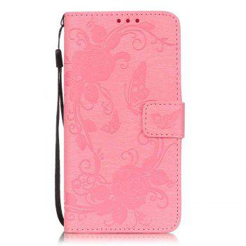 Embossed - Butterfly Flower PU Phone Case for Samsung Galaxy  Grand Prime G530 - PINK PINK