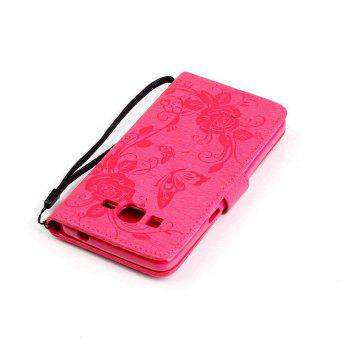 Embossed - Butterfly Flower PU Phone Case for Samsung Galaxy  Grand Prime G530 -  SANGRIA