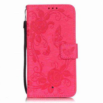 Embossed - Butterfly Flower PU Phone Case for Samsung Galaxy  Grand Prime G530 - SANGRIA SANGRIA