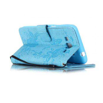 Embossed - Butterfly Flower PU Phone Case for Samsung Galaxy  Grand Prime G530 -  BLUE