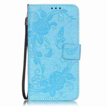 Embossed - Butterfly Flower PU Phone Case for Samsung Galaxy  Grand Prime G530 - BLUE BLUE