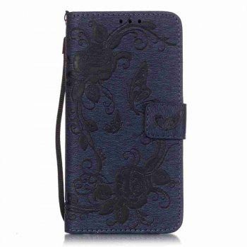 Embossed - Butterfly Flower PU Phone Case for Samsung Galaxy  Grand Prime G530 - CERULEAN CERULEAN