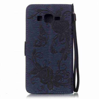 Embossed - Butterfly Flower PU Phone Case for Samsung Galaxy  Grand Prime G530 -  CERULEAN