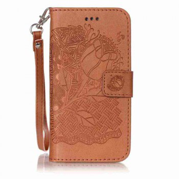 Double Embossed Rich Flowers PU TPU Phone Case for  iPhone 6 / 6S - BROWN BROWN