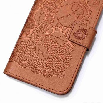 Double Embossed Rich Flowers PU TPU Phone Case for  iPhone 6 / 6S -  BROWN