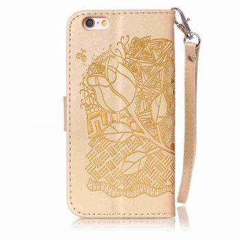 Double Embossed Rich Flowers PU TPU Phone Case for  iPhone 6 / 6S -  DAISY