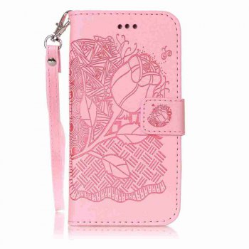 Double Embossed Rich Flowers PU TPU Phone Case for  iPhone 6 / 6S - PINK PINK