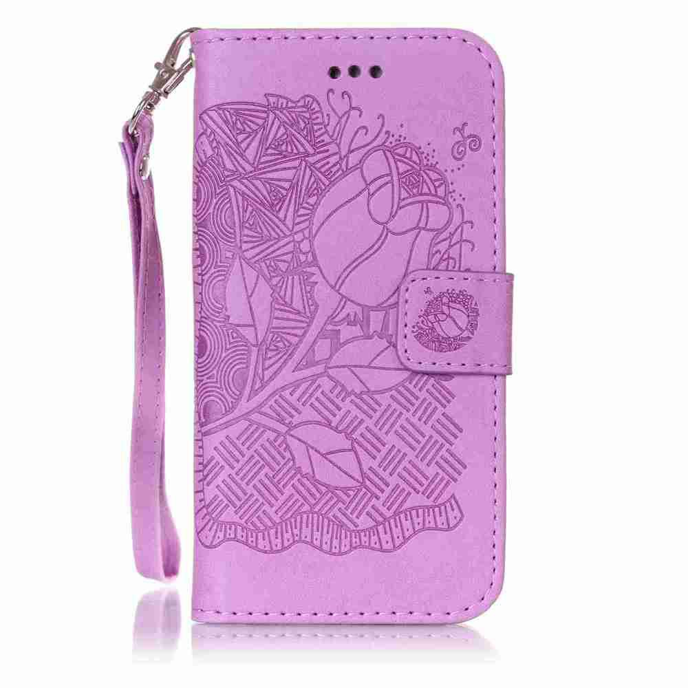 Double Embossed Rich Flowers PU TPU Phone Case for  iPhone 6 / 6S - PURPLE