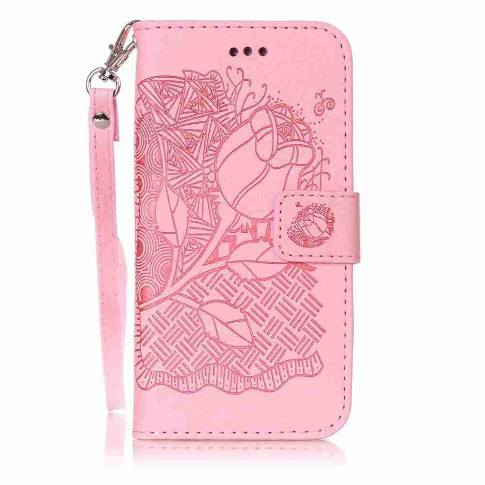 Double Embossed Rich Flowers PU TPU Phone Case for  iPhone 6 / 6S - PINK