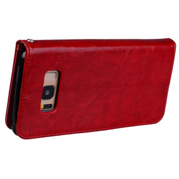 Wrist Strap Flip Folio Kickstand Feature PU Leather Wallet Case with ID Credit Card Pockets For Samsung Galaxy S8 - RED