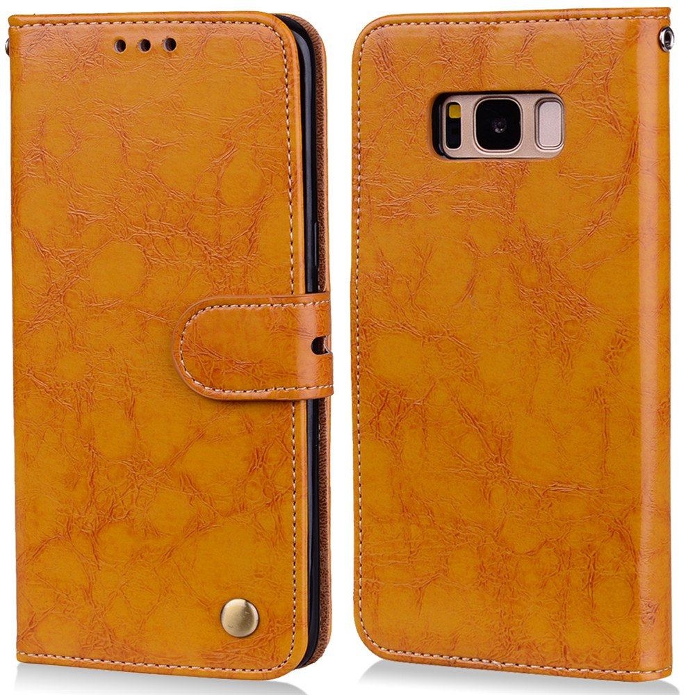 Wrist Strap Flip Folio Kickstand Feature PU Leather Wallet Case with ID Credit Card Pockets For Samsung Galaxy S8 - BROWN