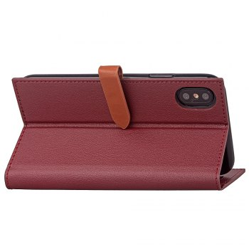 Couverture simple de cuir de longe de carte de Hasp pour l'iPhone X - Rouge