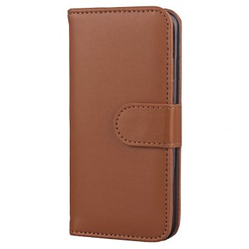 One Hundred Lines Card Lanyard Pu Leather Cover for iPhone 8 -  BROWN