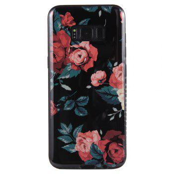 Wkae Porcelain Flower Mobile Phone Shell Surrounded By Rhinestone for Samsung Galaxy S8 -  BLACK/RED