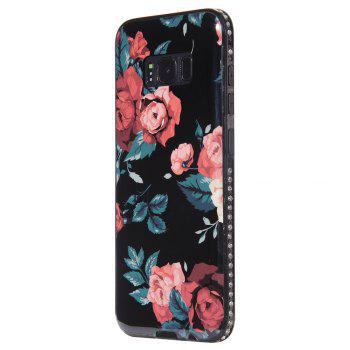 Wkae Porcelain Flower Mobile Phone Shell Surrounded By Rhinestone for Samsung Galaxy S8 - BLACK AND RED BLACK/RED