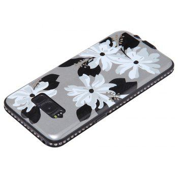 Wkae Porcelain Flower Mobile Phone Shell Surrounded By Rhinestone for Samsung Galaxy S8 -  WHITE / GREY