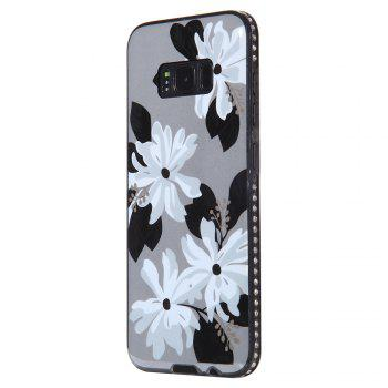 Wkae Porcelain Flower Mobile Phone Shell Surrounded By Rhinestone for Samsung Galaxy S8 - WHITE + GREY WHITE / GREY