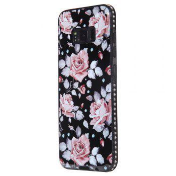 Wkae Porcelain Flower Mobile Phone Shell Surrounded By Rhinestone for Samsung Galaxy S8 - PINK PINK