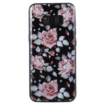 Wkae Porcelain Flower Mobile Phone Shell Surrounded By Rhinestone for Samsung Galaxy S8 -  PINK