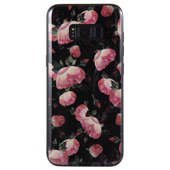 Wkae Porcelain Flower Mobile Phone Shell Surrounded By Rhinestone for Samsung Galaxy S8 -  BLACK/ROSE RED